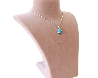 Turquoise Tulip 925 Sterling Silver Necklace with Silver Chain
