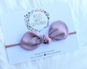 Baby nylon headband | Fabric bow | Light Mauve | 100% cotton
