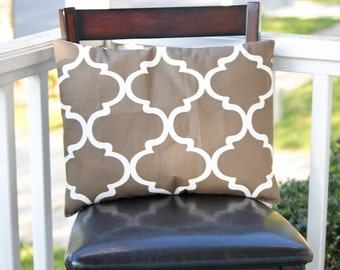 Brown and White Accent Pillow
