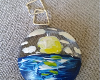 Sunset Seascape- Hand Painted Pendent