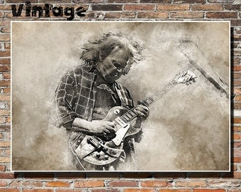 Neil Young 19x13 Print, Poster, Wall Art, Painting, Instagram, Buffalo Springfield, CSNY, Crazy Horse