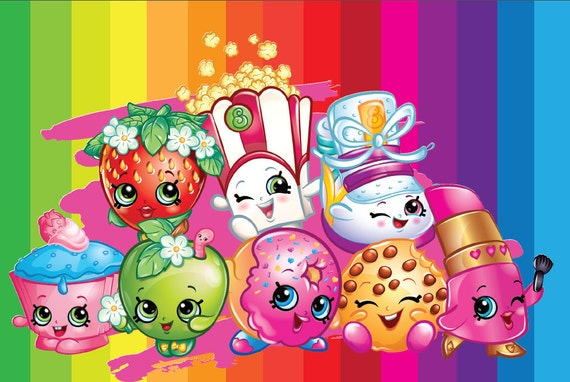 Completely Satisfied Birthday Wallpapers: Shopkins Backdrop Instant Download Shopkins By Paperstudioeu