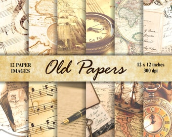Old Papers, scrapbook digital paper pack - printable papers - Instant download - 12x12 inches. 300 dpi.