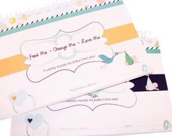 CLEARANCE! newborn twin gift, Twin Tracker, baby book, first year book, twin memory book, twin babies, twin feeding tracker, twin sleeping