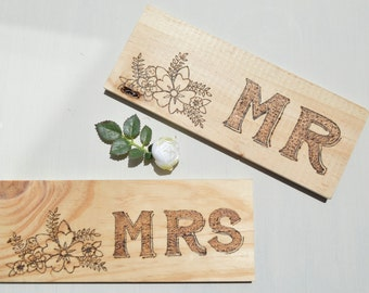 Mr Mrs signs wood