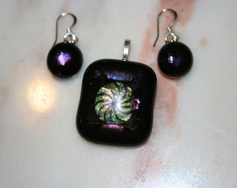 fused glass dichroic pendant and earring set