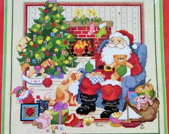 The Best of Christmas Cross Stitch Kit Linda Gillum Santa Claus Kit Pillow Size