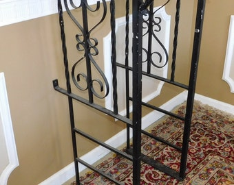 Pair Painted Black Scroll Wrought Iron Railing ~ Level Hand Rails ~ 21 D X 43H