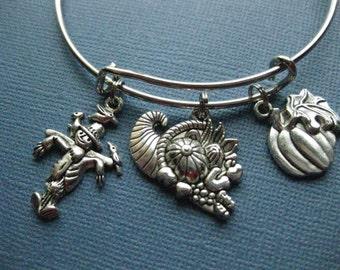Fall Bangle - Fall Charm Bracelet - Fall Jewelry - Charm Bracelet - Bangle - Thanksgiving - Fall -- B126