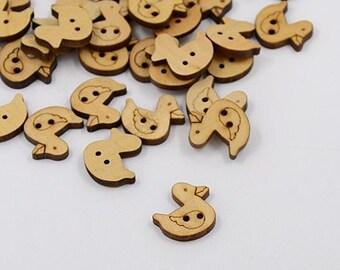 """5 wooden buttons """"Duck"""""""