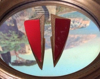 1980's red enamel and gold dagger earrings