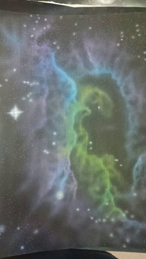 Green/Purple Nebula Original Painting Acrylic Space Stars