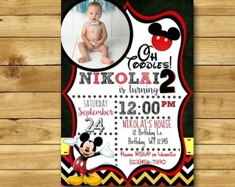 Mickey Mouse Birthday Invitation, Mickey Mouse Invitation, Mickey Mouse Clubhouse, Mickey Mouse Invites, Mickey Mouse DIGITAL 5x7