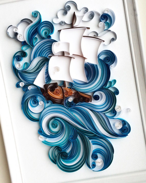 Quilled paper art wall decor by qllart on etsy Wall art paper designs