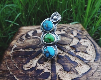 CLEARANCE SALE! Turquoise with pyrite 3 stone ring sz 8.5.Native American inspired,south western inspired,rustic,sterling silver,Ready to sh