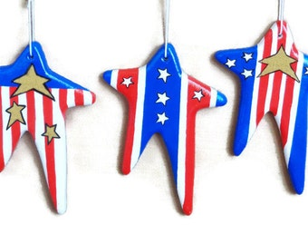 July 4th or Memorial Day Ornament Set