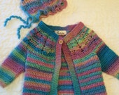 Handmade, crocheted , little girls sweater, 3 to 4 years old, country cabled cardigan, 2pc, with bonnet