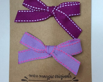 Ribbon Bow Clips || purple