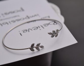 leaf cuff bracelet silver plated finding