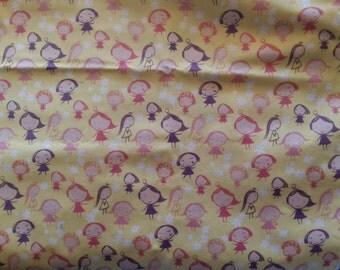 1/2 Yard Girls at Play Lemon Benartex Fabric