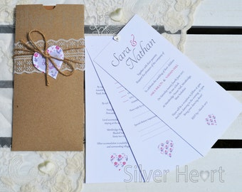 Afternoon Tea Hand Made Wallet Wedding Invitation with RSVP -SAMPLE