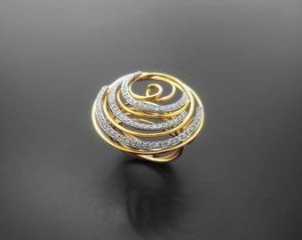 VA007,Diamond Ring, 14k Yellow Gold, 14k White Gold