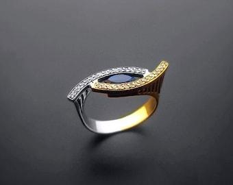 VA017,Diamond Ring,  14k Yellow Gold,  14k White Gold,  Spinel