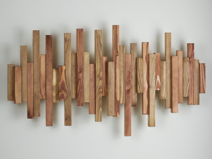 Wall Decor Made From Wood : Handmade wooden wall art large soundwave digitised music