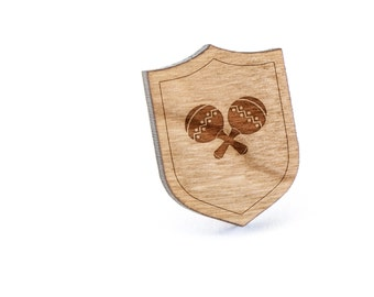 Maracas Lapel Pin, Wooden Pin, Wooden Lapel, Gift For Him or Her, Wedding Gifts, Groomsman Gifts, and Personalized