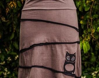 Hooty Owl Mid-Length Cotton Skirt
