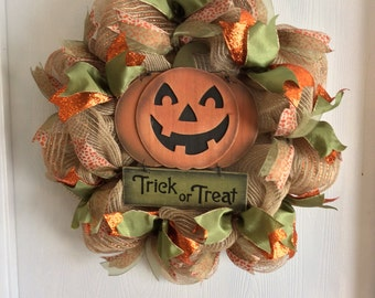 Halloween Wreath-Pumpkin  Wreath-Halloween Burlap Wreath-Pumpkin Burlap Wreath-Wreath