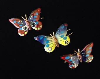 Vintage Butterfly Barrette-Hand Painted Butterfly Barrette-Vintage Butterfly Hair Clip-Vintage Hair Accessory-Hair Clip Made In Korea