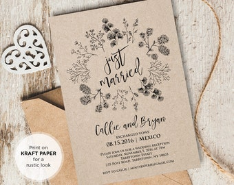 Just Married Elope Announcement Printable, DIY Rustic Wedding Elopement Invitation, Instant Download, Editable Text, PDF Template #101EL