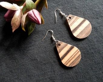 Dramatic Exotic Black and White Ebony Wood Earrings. FREE SHIPPING !!!!