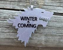 SALE! Game of Thrones Winter is Coming Stark Crest Direwolf Necklace Pendant