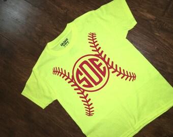 Adult initial softball Tshirt, inital shirt, softball tee