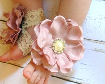Ivory Baby Shoes, Baby Barefoot Sandals, Baby Sandals, Baptism Shoes, Flower Girl Baby Shoes, Newborn Shoes, Baby Shoes Girl