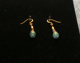 Gold plated,  teal pearl & burgundy glass beaded earrings, #SE-04.  Necklace also available.