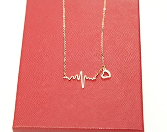 Rose Gold Necklace, Heartbeat Necklace, EKG Necklace, Wave Necklace, Nurse/Doctor Gift