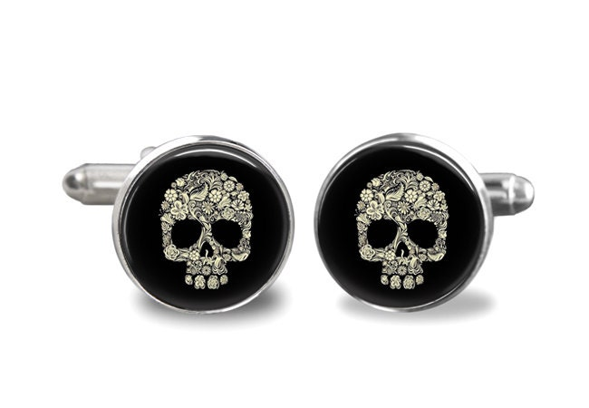 Sugar Skull day of the Dead Cuff Links