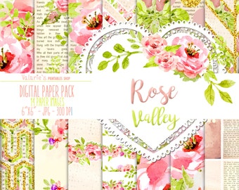 Rose Valley Digital Paper Pack Instant Download Printable Watercolor Flower Watercolor Rose Blush Pink Green Gold Glitter 6x6