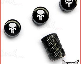 PUNISHER Set Of 4 Lasered Logo Tire Valve Caps (SKU-17569)