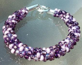 Purple tones Kumihimo bracelet
