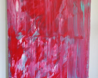 Large Canvas Art, Red Abstract, Teal Painting, White Abstract, Red Painting, Teal Abstract, White Painting, Original Art, Modern Art