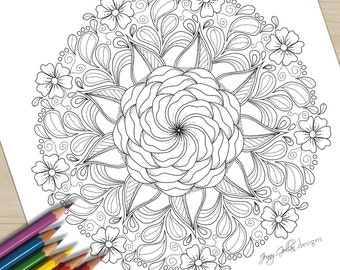 Adult Colouring Page Feeling Peaceful