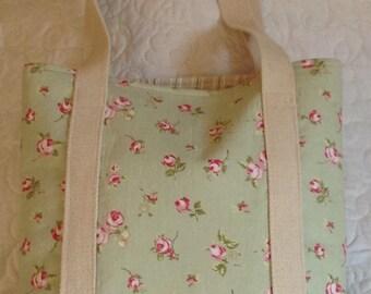 Handmade Fabric Tote Bag. Canvas Beach Bag. Lined Shopping Bag.