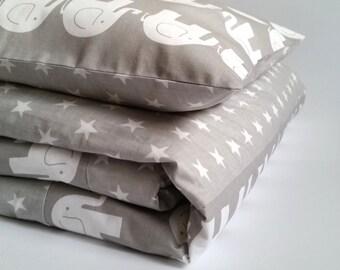 Baby bedding, gray, stars, elephants, 2 sizes bedding