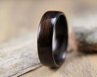 Macassar Ebony Bentwood Ring - Wooden Ring - Wedding Band