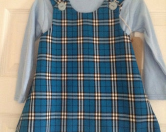 Blue tartan girls pinafore dress 1-2YR, tartan pinafore, tartan dress, blue tartan dress