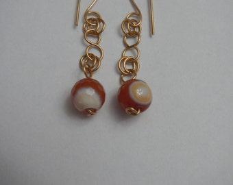 Orange Agate Dangling Earrings